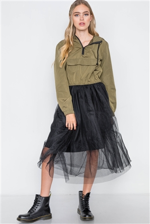 Olive Black Combo Tulle Midi Jacket Dress