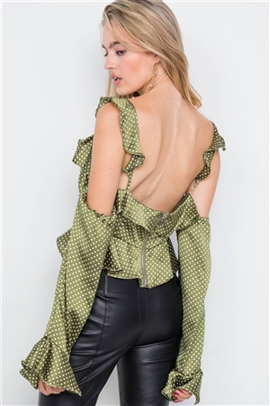 Satin Olive Cinched Flounce Off-The-Shoulder Polkadot Top