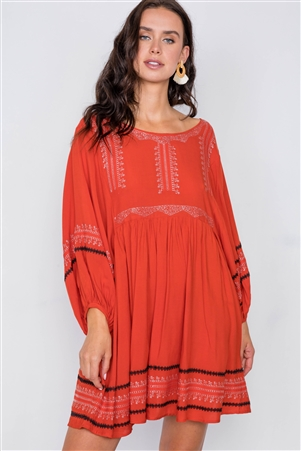 Dusty Red Embroidery Long Sleeve Boho Dress