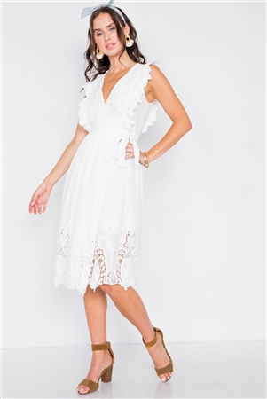 White Lace Ruffle Wrap Midi Dress - Small