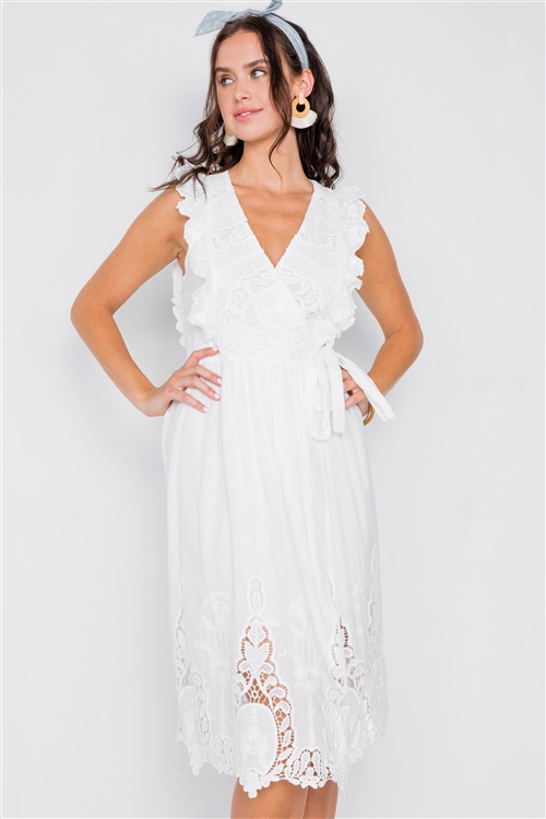 White Lace Ruffle Wrap Midi Dress