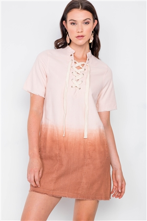 Mauve Dip Dye Lace Up Mini Shift Dress