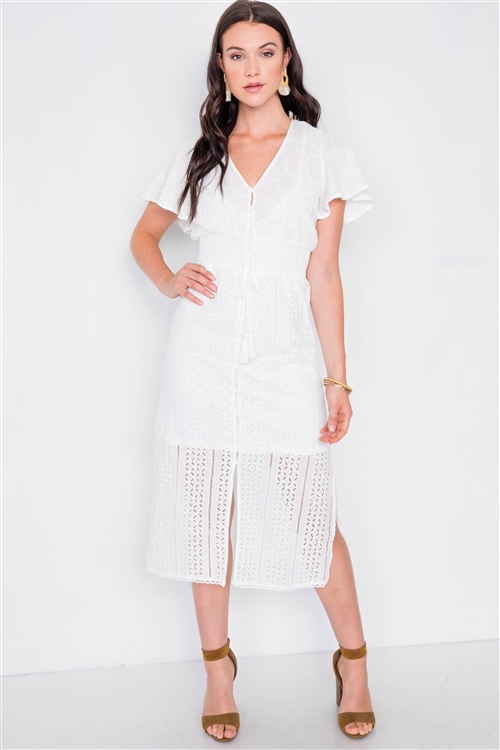 Off White Eyelet Midi Dress