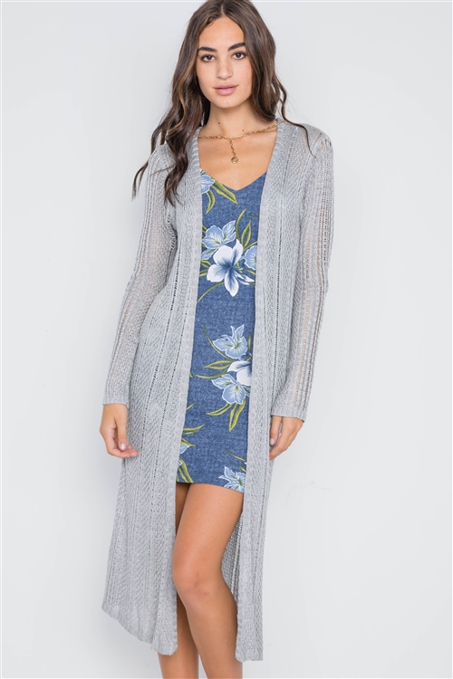 Heather Grey Open Front Long Sleeve Cardigan