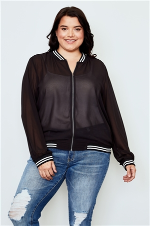 Plus Size Black Sheer Mesh Zipper Front Jacket