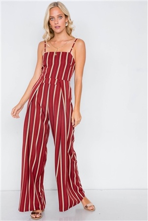 Rust Pleated Wide Leg Open Back Jumpsuit