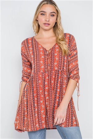 Rust V-Neck 3/4 Sleeve Button-Front Boho Top