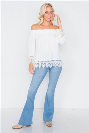 White Cotton Off-The-Shoulder Lace Trim Boho Chic Top