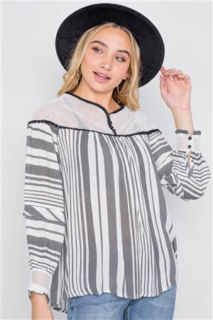 Ivory Stripe Mash Combo Black Top