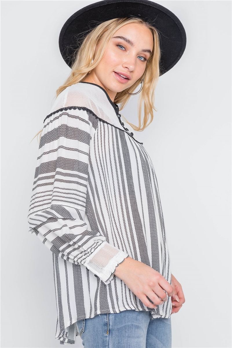 Ivory Stripe Mash Combo Black Top