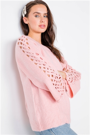 Pink Braided Cut Out Bell Sleeve Sweater