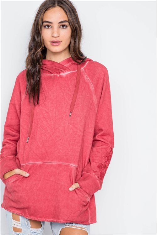 Berry  Long Sleeve Embroidery Hoodie Sweater