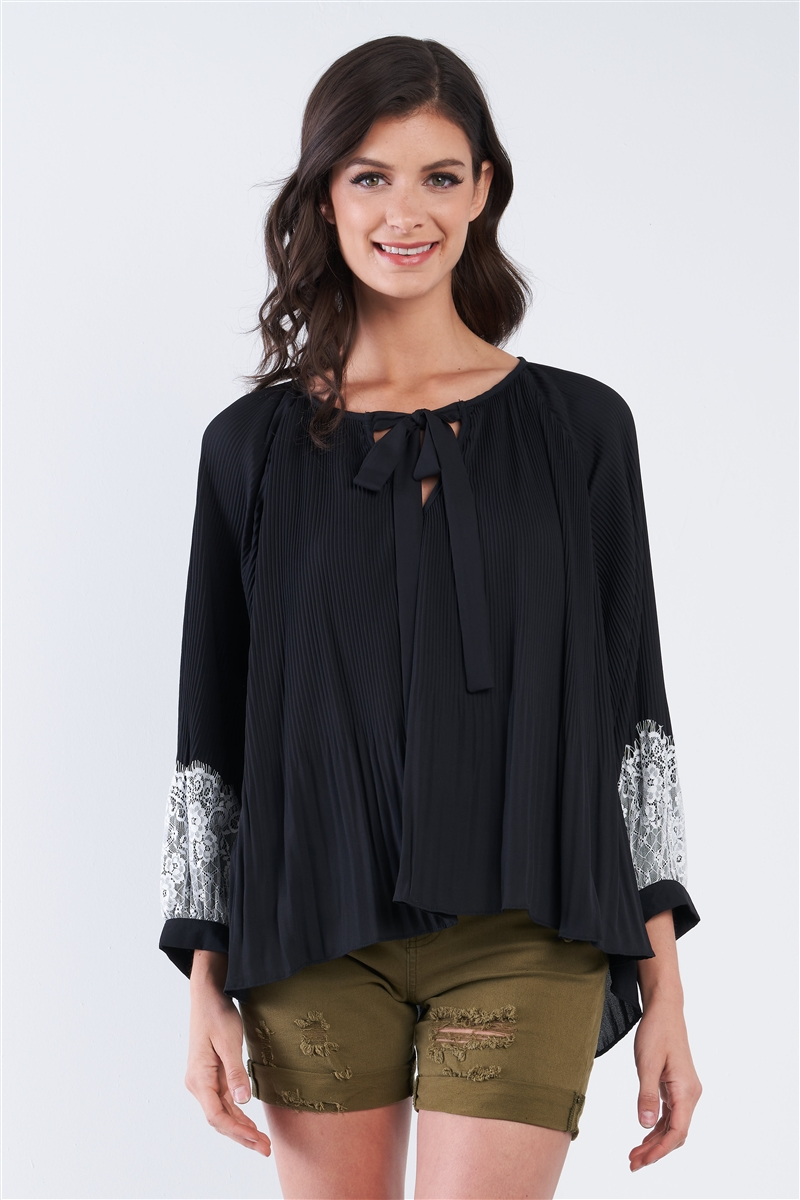 Black Accordion Pleated Lace Trim Top