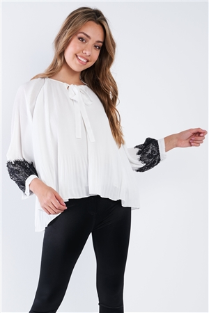 White Accordion Pleated Lace Trim Top