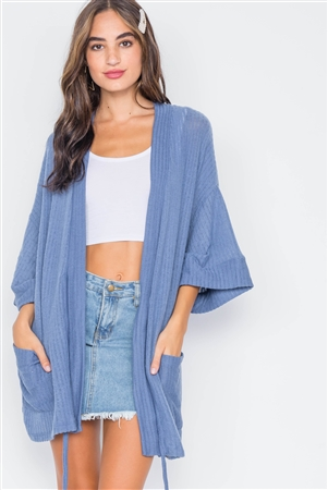 Blue Ribbed Soft Open Front Cardigan