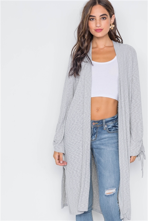 Heather Grey Ribbed Knit Open Front Cardigan