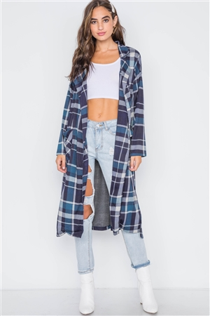Navy Blue Knit Plaid Trench Coat Cardigan