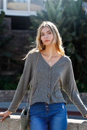 Moss Long Sleeve Knit Button-Front Combo Cardigan