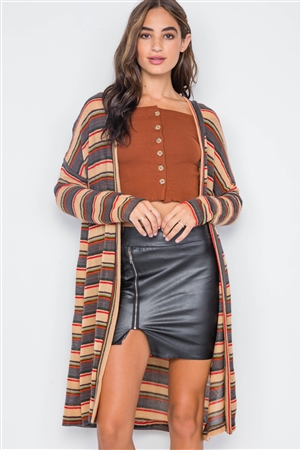 Tan Multi Open Front Long Sleeve Cardigan