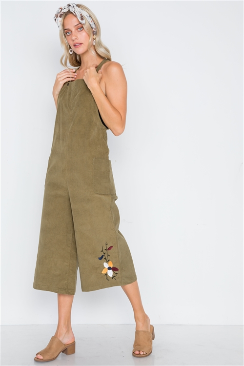 Olive Floral Embroidered Boho Overall