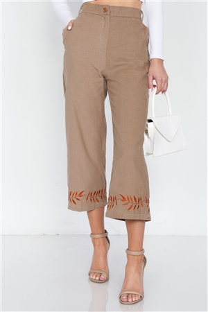 Taupe Ankle Length Boho Print Cotton Corduroy Gaucho Pants
