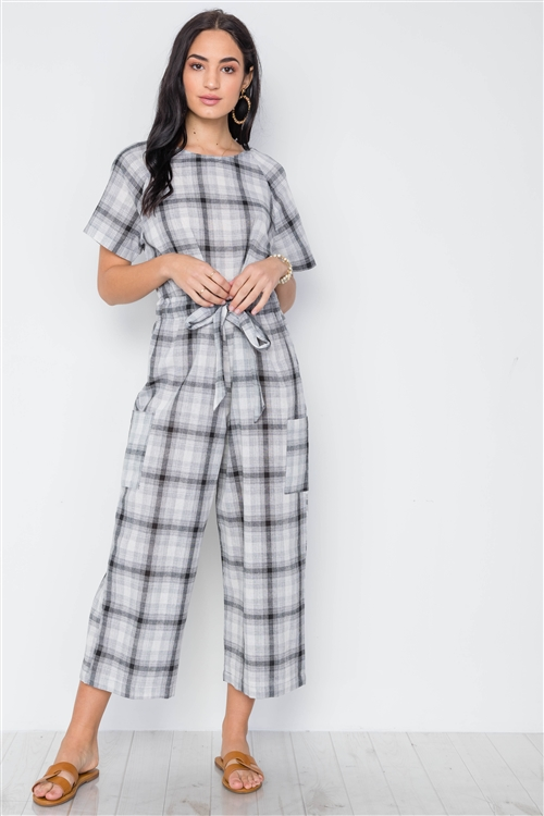 Black Plaid Print Tie Waist Jumpsuit