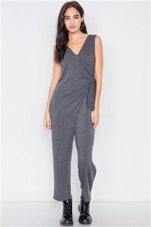Charcoal Marled Knit Mock Wrap Ankle Length Jumpsuit