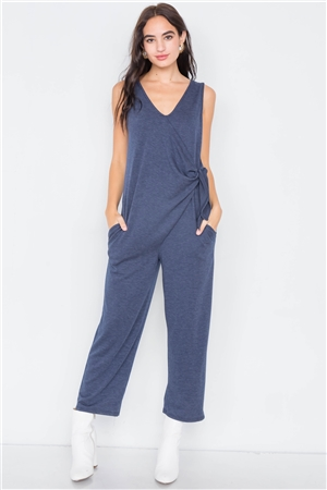 Navy Marled Knit Mock Wrap Ankle Length Jumpsuit
