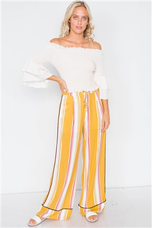Mustard Multi Stripe Black Trim Wide Leg Pants