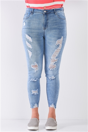 Junior Plus Size Light Blue Denim Mid-Rise Raw Hem Detail Distressed Trim Skinny Jeans /1-2-2-1