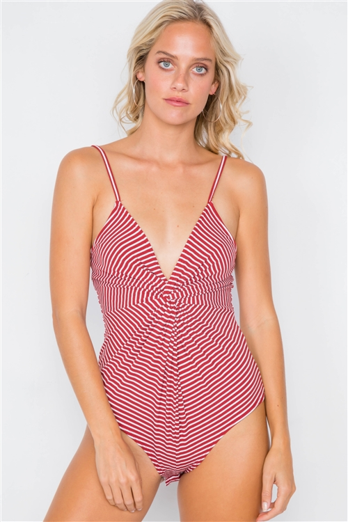 Red & Off White Stripe Front Roll Bodysuit