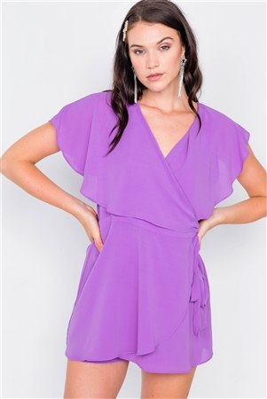 Purple Mock Wrap Butterfly Sleeve Romper