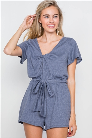 Denim Blue V-Neck Front Roll Knot Jersey Romper