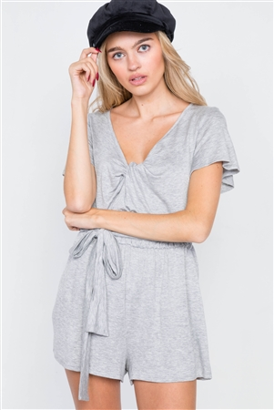 Heather Grey V-Neck Front Roll Knot Jersey Romper