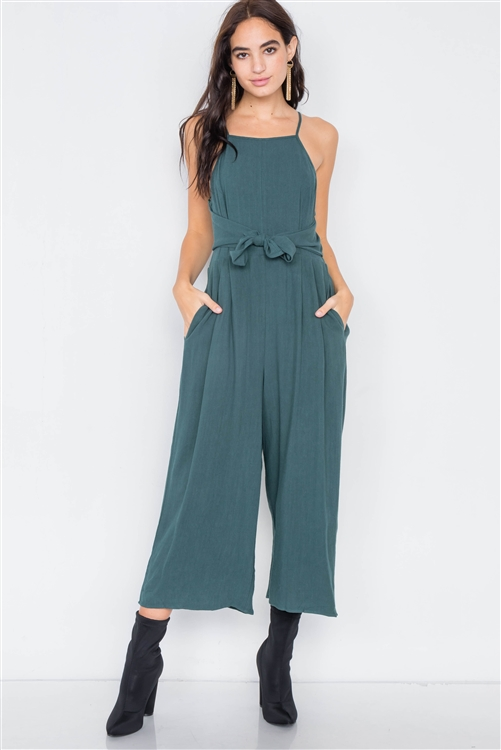 Heather Green Mock Wrap Pleated Gaucho Jumpsuit