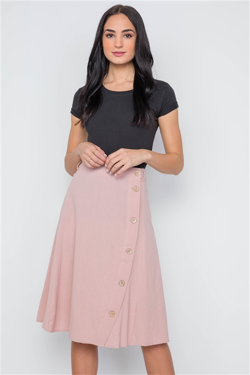 Mauve Solid Side Buttons Midi Skirt
