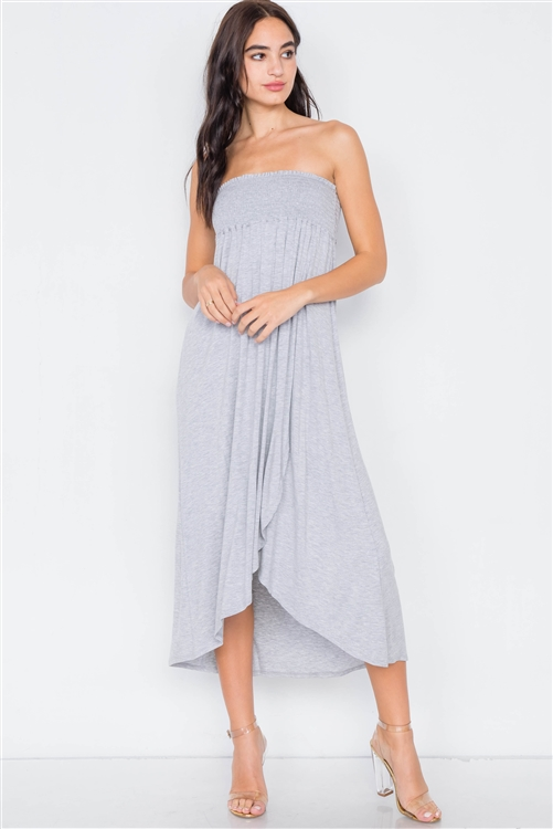 Heather Grey Off-The-Shoulder Ruched Tube Top Midi Dress