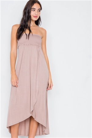 Taupe Off-The-Shoulder Ruched Tube Top Midi Dress