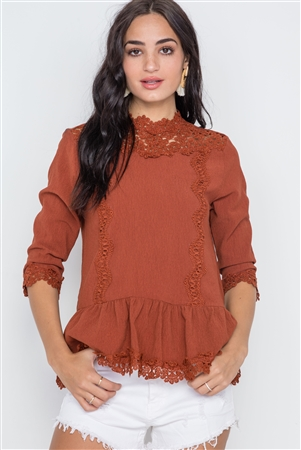 Marsala 3/4 Sleeves Crochet Trim Shirred Hem Top
