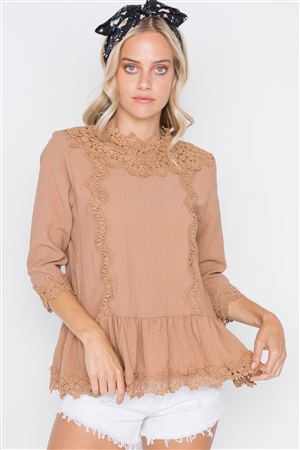 Mocha 3/4 Sleeves Crochet Trim Shirred Hem Top