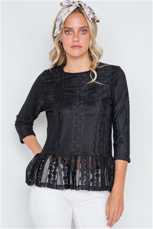 Black 3/4 Sleeve Multi Pattern Shirred Hem Top