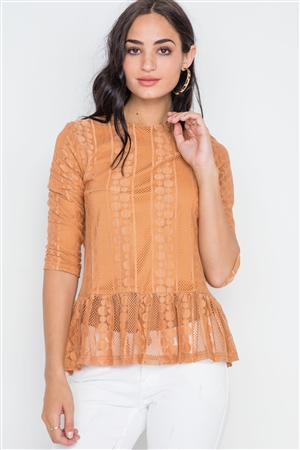 Orange 3/4 Sleeve Multi Pattern Shirred Hem Top
