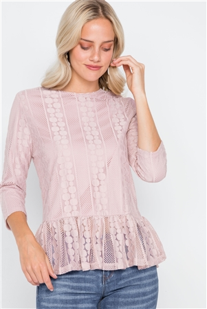 Pink 3/4 Sleeve Multi Pattern Shirred Hem Top