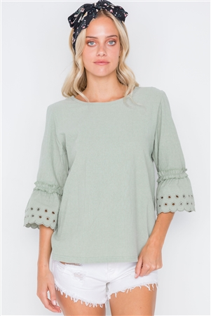 Sage 3/4 Sleeve Geo Embroidery Boho Top