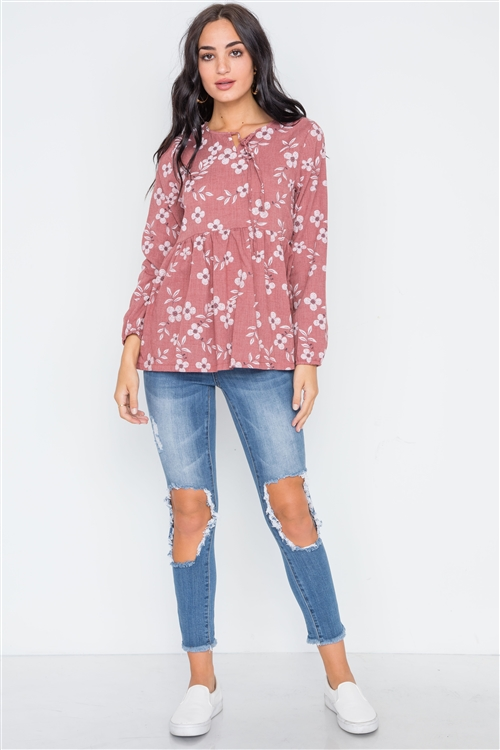 Brick Long Sleeve Floral Print Shirred Hem Top