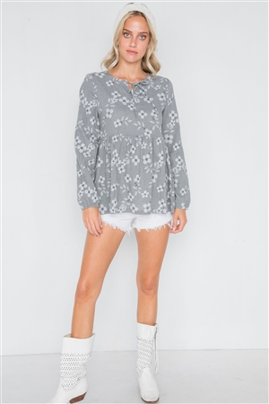 Grey Long Sleeve Floral Print Shirred Hem Top