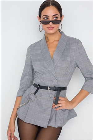 Multi Grey Plaid 3/4 Sleeve Blazer Jacket