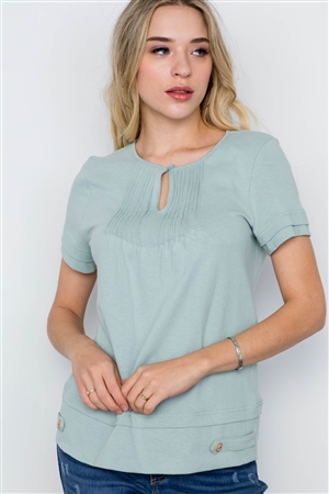 Sage Short Sleeve Pleated Cotton Boho Top