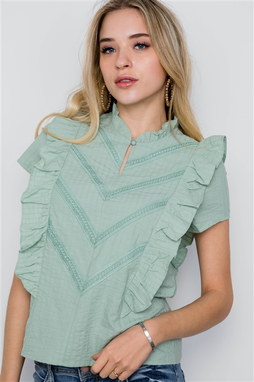 Sage Short Sleeve Ruffle Detail Boho Top