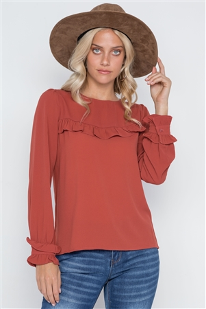 Rust Long Sleeve Ruffle Detail Solid Top